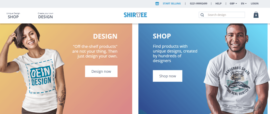 Shirtee homepage