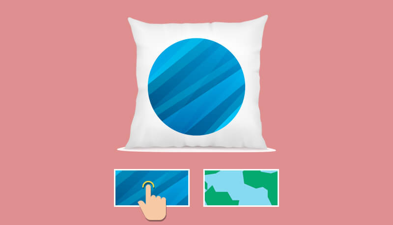 A square pillow with customized design